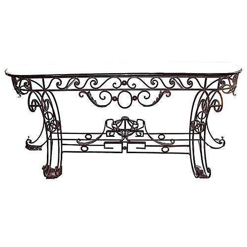 Neoclassical-Style Marble-Top Console