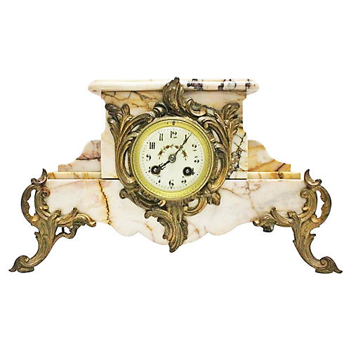 19th-C. French Marble Mantel Clock