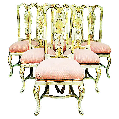 Queen Anne-Style Dining Chairs, S/6