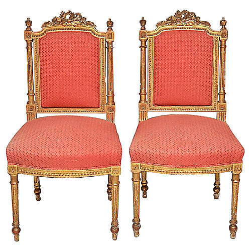 Charmant 19th C. Louis XVI Style Chairs, Pair