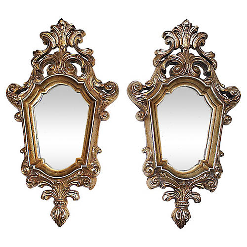 Hollywood Regency Mirrors, Pair