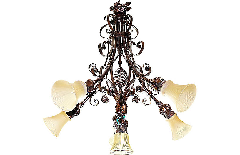 French Country Wrought Steel Chandelier