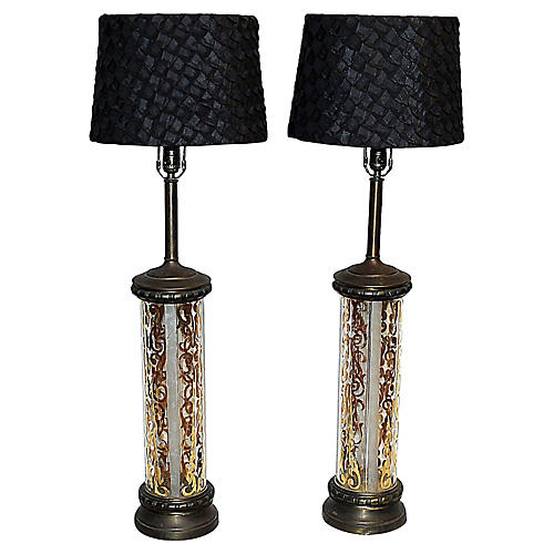 Midcentury Cylindrical Table Lamps, S/2