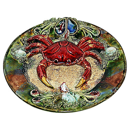 Palissey Style Portuguese Majolica Crab