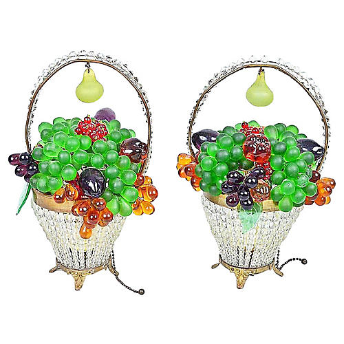 Czech Grape Fruit Basket Lamps, Pair