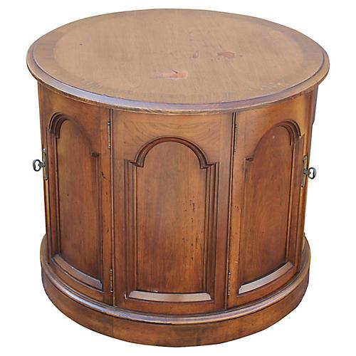 Midcentury Walnut Drum Table