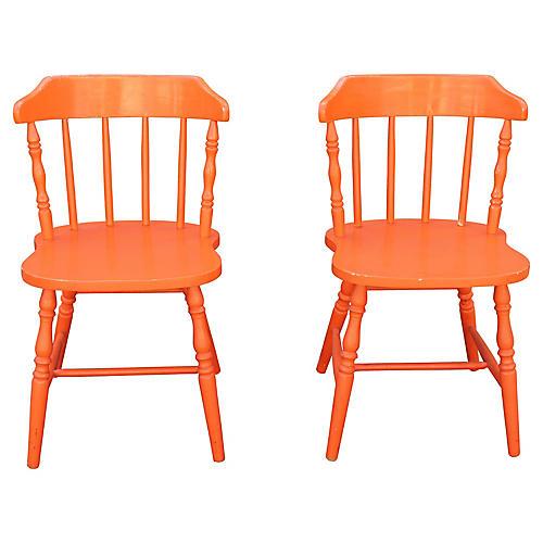 American Orange Side Chairs, Pair
