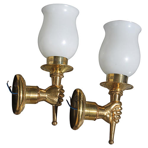 1940s André Arbus Torch Sconces, Pair