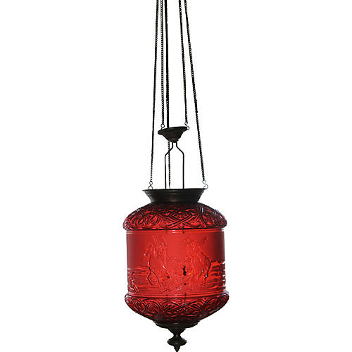 19th-C. Baccarat Red Electric Lantern