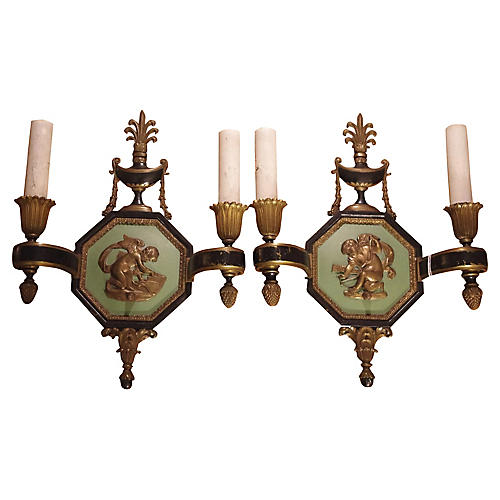 Neoclassic Bronze Caldwell Sconces, S/2
