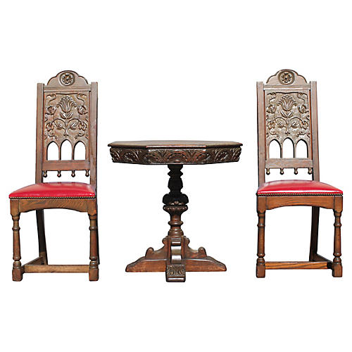 Antique Renaisance Game Table Set, S/3