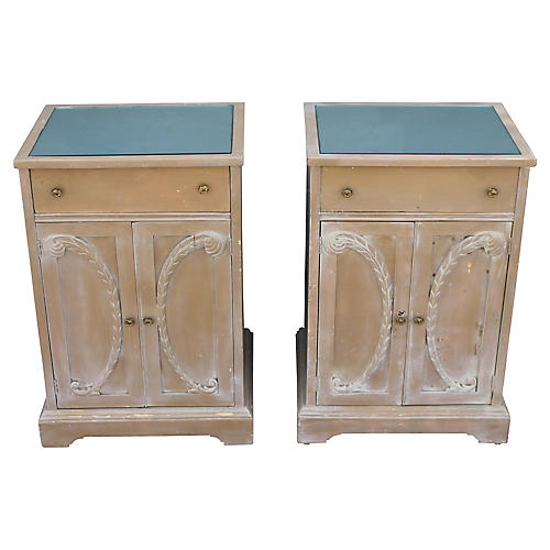 Hollywood Regency Carved Nightstands, Pr