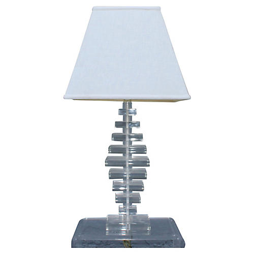 Mid-Century Modern Stacked Lucite Lamp