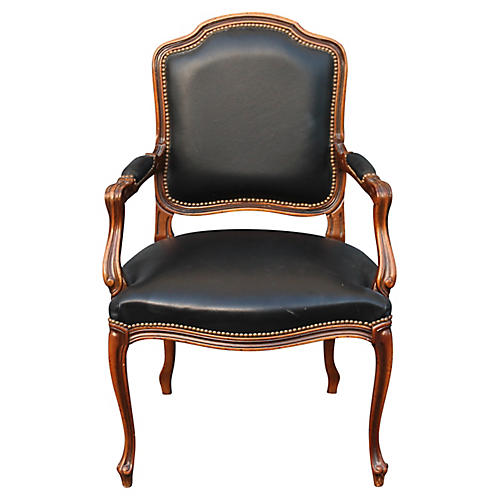 French Louis XVI-Style Walnut Armchair