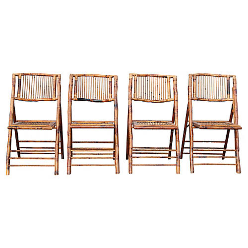 Faux-Bamboo Folding Chairs, S/4