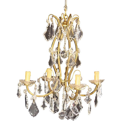 19th-C. Bronze Cage Baccarat Chandelier