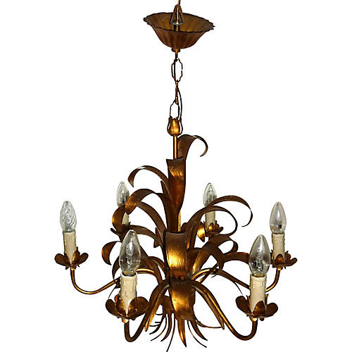 Mid Century Sheaf Palm Gilt Chandelier