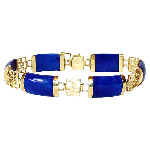14K Gold & Lapis Bracelet