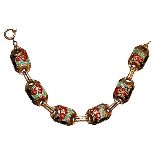 Asian-Style Enameled Floral Bracelet