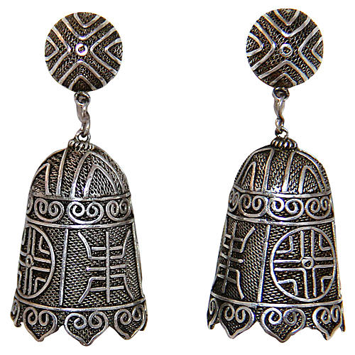 Chinese Sterling Bell Shape Earrings