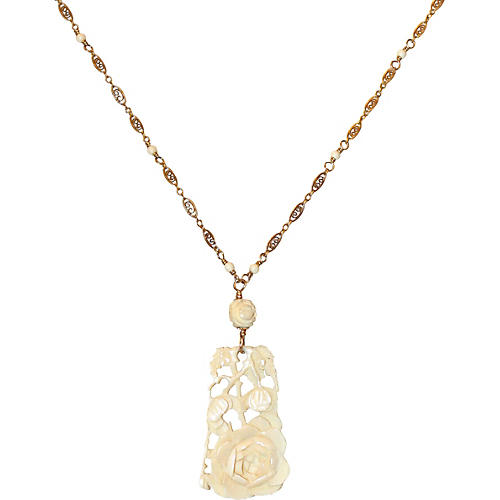 1920s Carved Bone Pendant & Ornate Chain