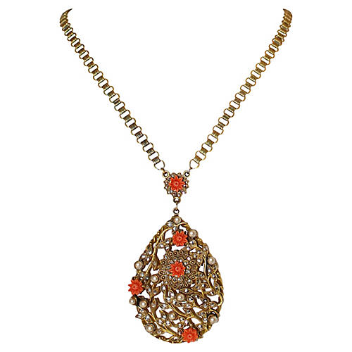 Floral-Motif Pendant Book-Chain Necklace