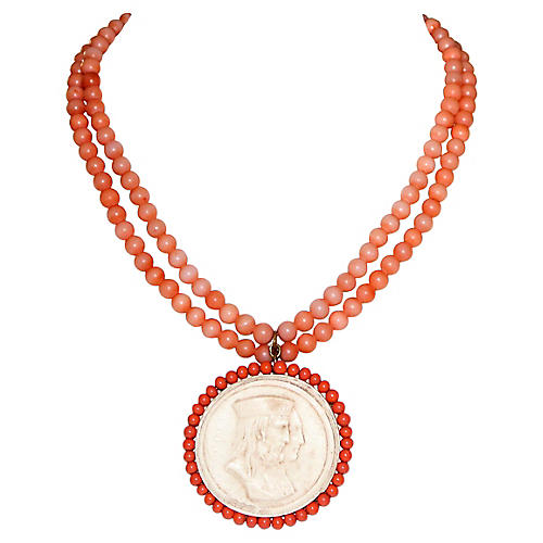 Faux-Coral Cameo Pendant Necklace