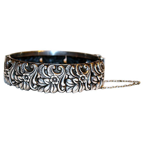 Sterling Floral Repoussé Bangle