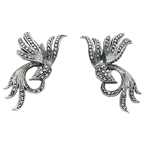 1940s Sterling & Marcasite Bird Earrings