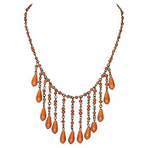 1920s Coral Celluloid Drop Bib Necklace