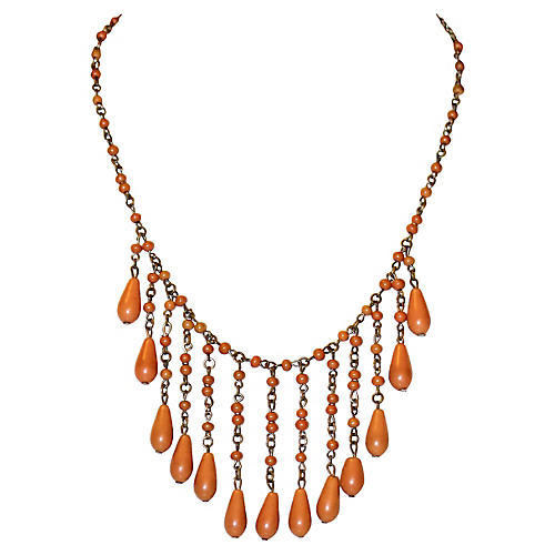 1920s Coral Celluloid Drop Bib Necklace
