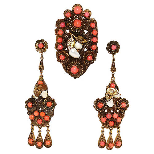 Czech Earrings & Dress Clip Set, C. 1920