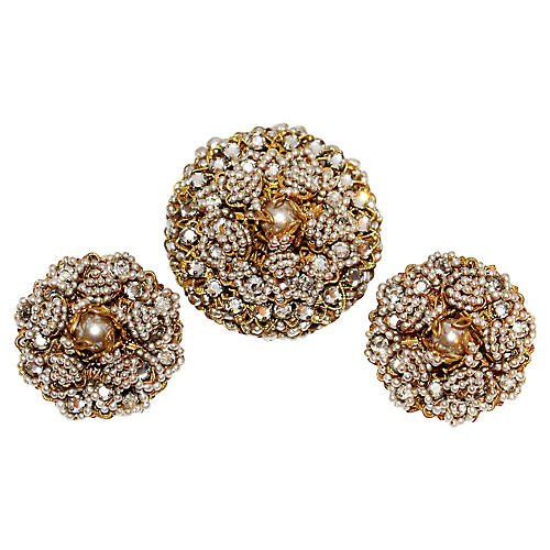 Wm de Lillo Faux-Pearl Brooch & Earrings