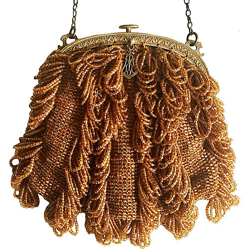 1920s Topaz Glass Beaded Purse