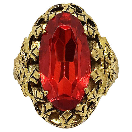 Czech Faceted Red Stone Ring