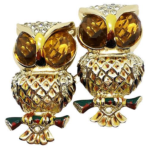 1930s Coro Duette Owl Brooch/Clips