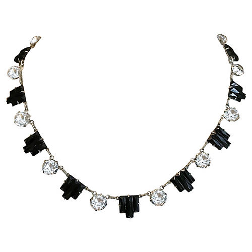 Art Deco Black Glass & Crystal Necklace