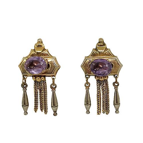 Victorian Revival Amethyst Earrings