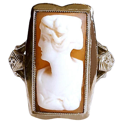 10K White Gold Cameo Ring, C. 1920