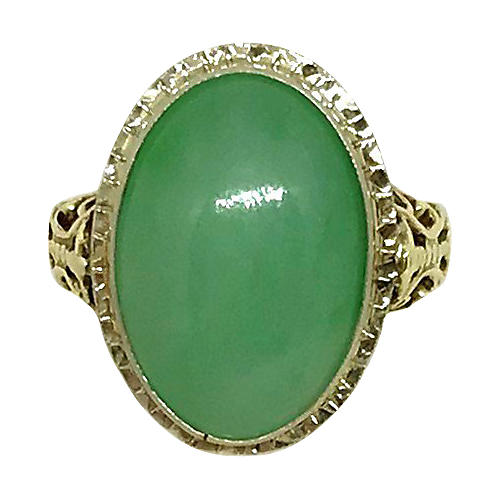 14K Gold & Jade Cabochon Ring