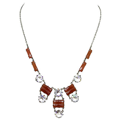 Deco Sterling & Carnelian Glass Necklace