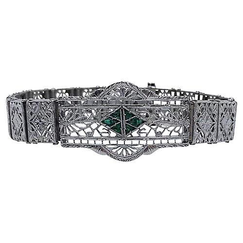 1920s Deco Chromium Filigree Bracelet