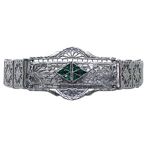 1920s Deco Chromium Filigree Bracelet