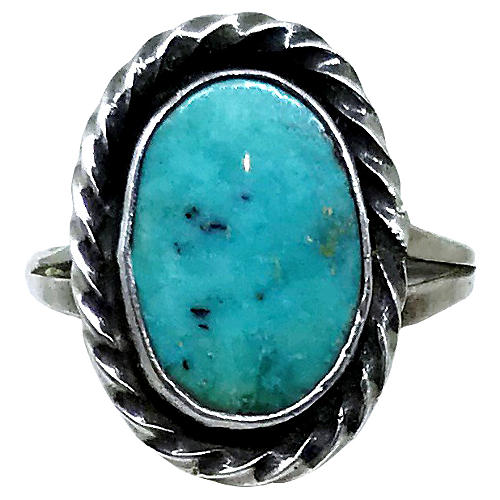 Sterling Silver & Oval Turquoise Ring