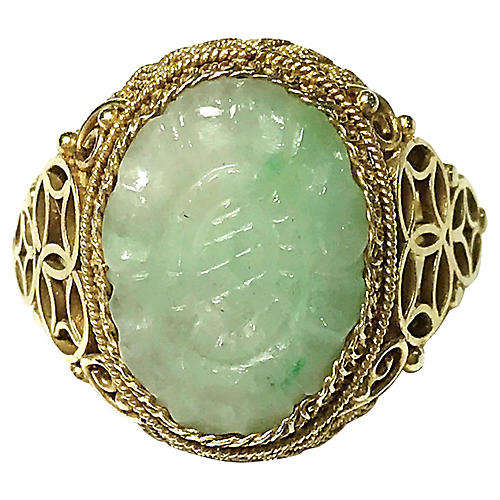 Chinese Gold-Plated Sterling & Jade Ring