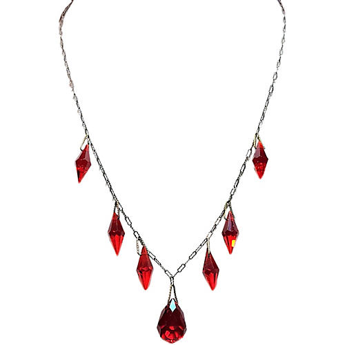 1920s Red Faceted Drop Necklace