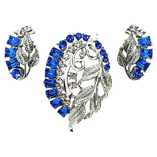 Star Blue Baguette Brooch & Earrings