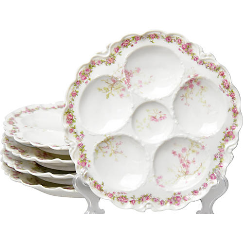 Antique Limoges Oyster Plates, S/5