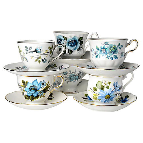 Blue Rose Cups & Saucers, S/6