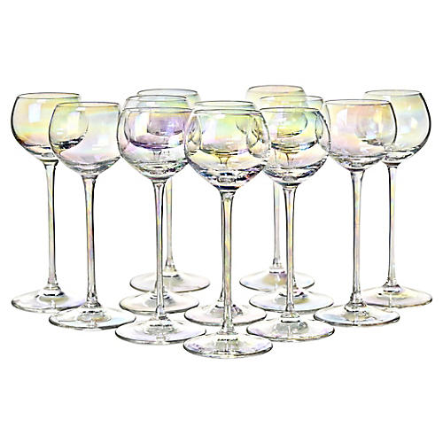 Iridescent Crystal Glasses, S/12